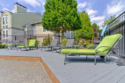 Poolside Sundeck and Relaxing Area at The Martine Apartments, 13850 NE 8th Street, WA 98005