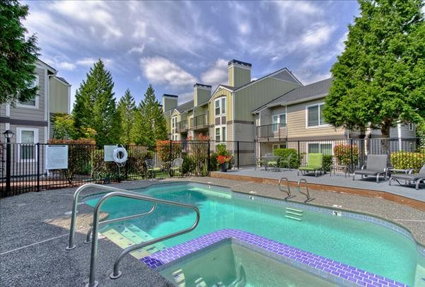 Sparkling Pool at The Martine Apartments, Bellevue, WA, 98005
