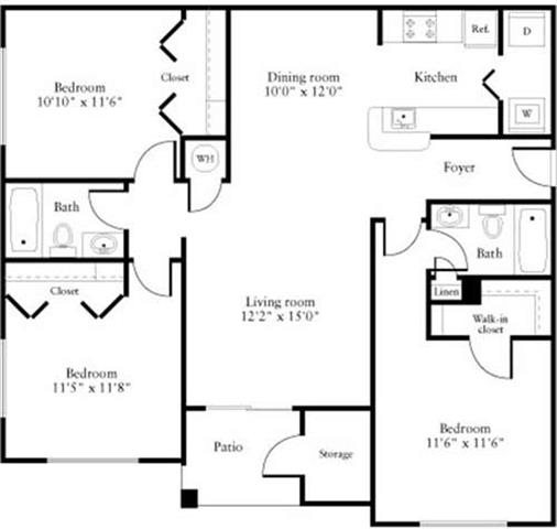 3 Bedrooms A Floorplan at Oasis Delray
