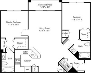 2B Floorplan at Palm Trace Landings