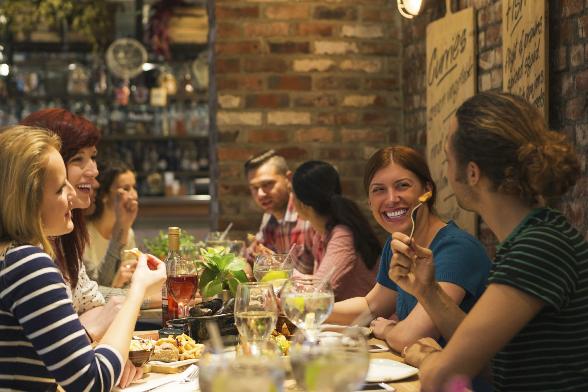 Stock image-friends dining