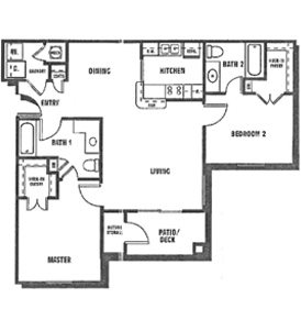 2 Bedroom | 2 Bath Floor Plan 2
