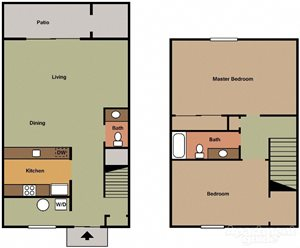 2 Bedroom 1.5 Bath Townhomes