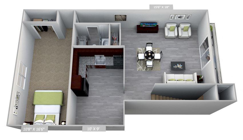 Columbia Gardens 1 Bedroom - End Unit