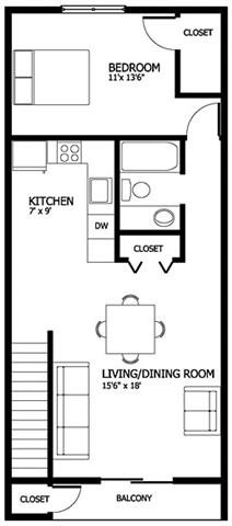 Columbia Gardens 1 Bedroom Floor Plan 1