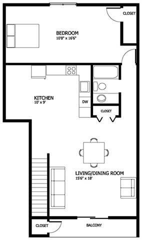 Columbia Gardens 1 Bedroom - End Unit Floor Plan 2