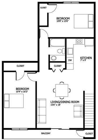 Columbia Gardens 2 Bedroom - Master Floor Plan 4