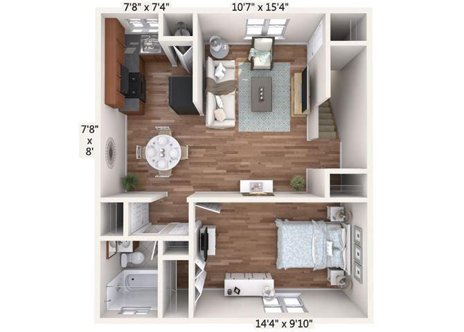 1 Bedroom Upper