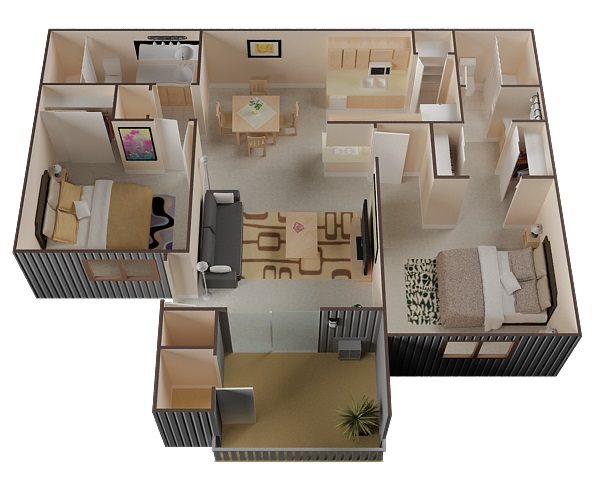 2 Bed Renovated Floor Plan 2