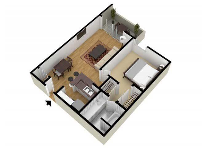 The One Bedroom A floor plan.