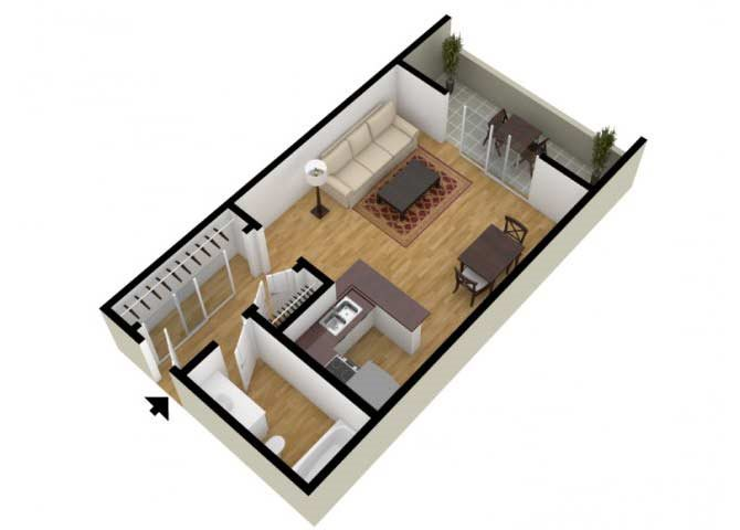 The Studio B floor plan.