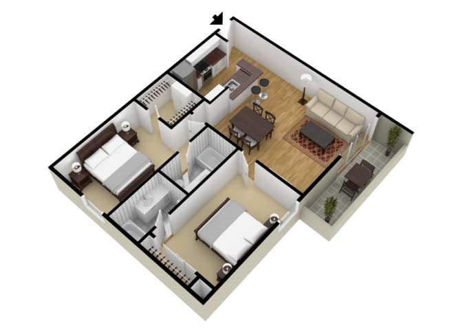 The Two Bedroom A floor plan.