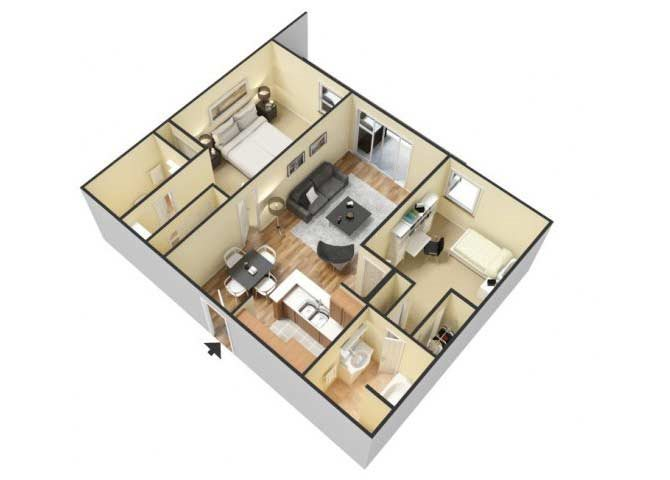 The Two Bedroom B floor plan.