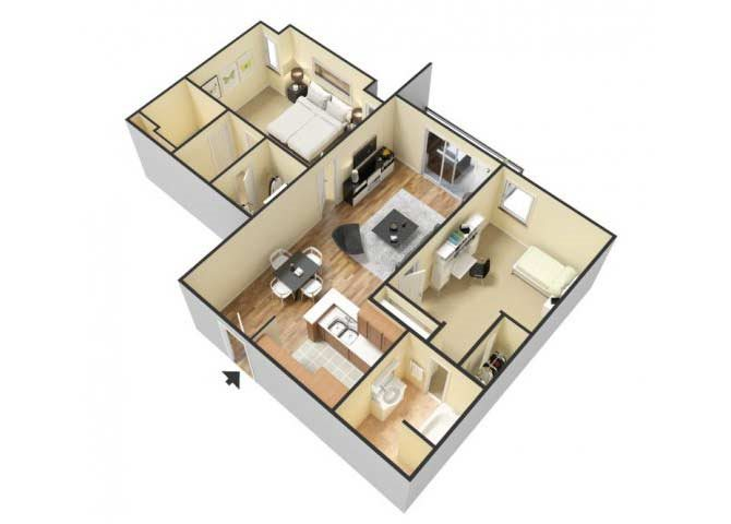 The Two Bedroom D floor plan.