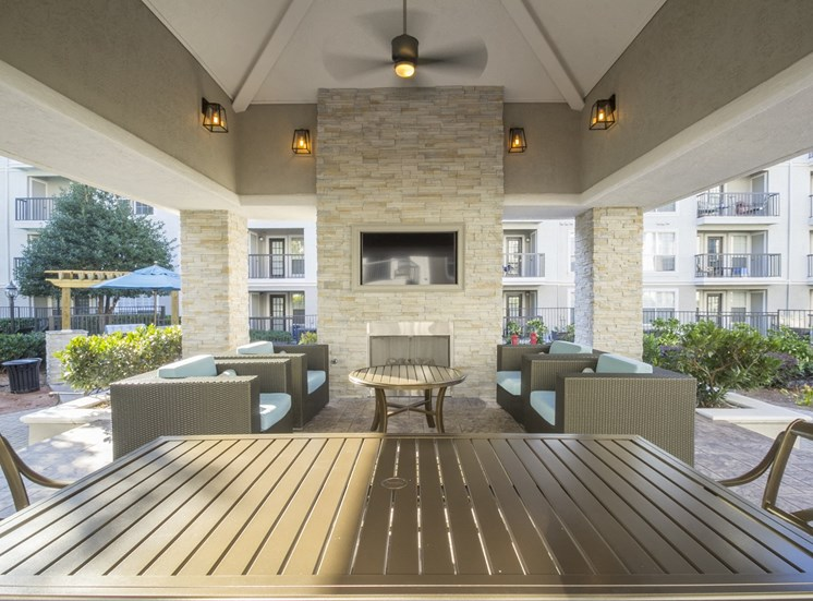 Outdoor Fireplace at The Stratford Apartments in Sandy Springs, GA