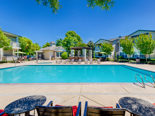 Sparkling Swimming Pool at Harvest Park Apartments, Santa Rosa, CA