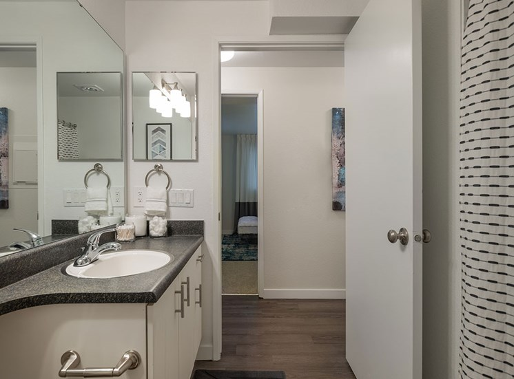 Renovated Bathrooms With Quartz Counters at Edgewater Apartments, Boise, 83703