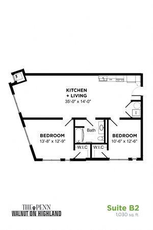 2 Bedroom 1 Bath Suite B2