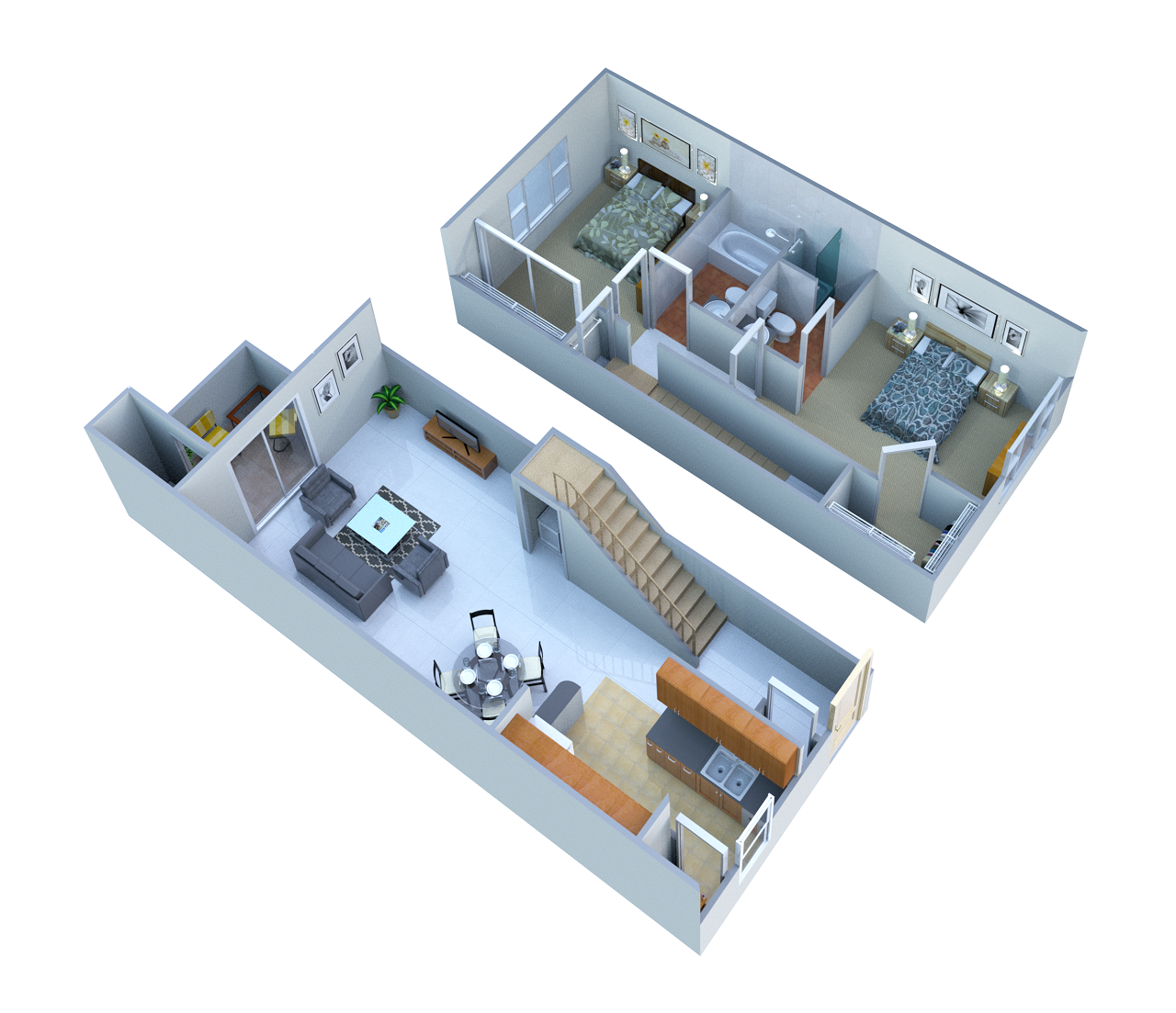 2 Bed 2 Bath Townhome Floor Plan 3