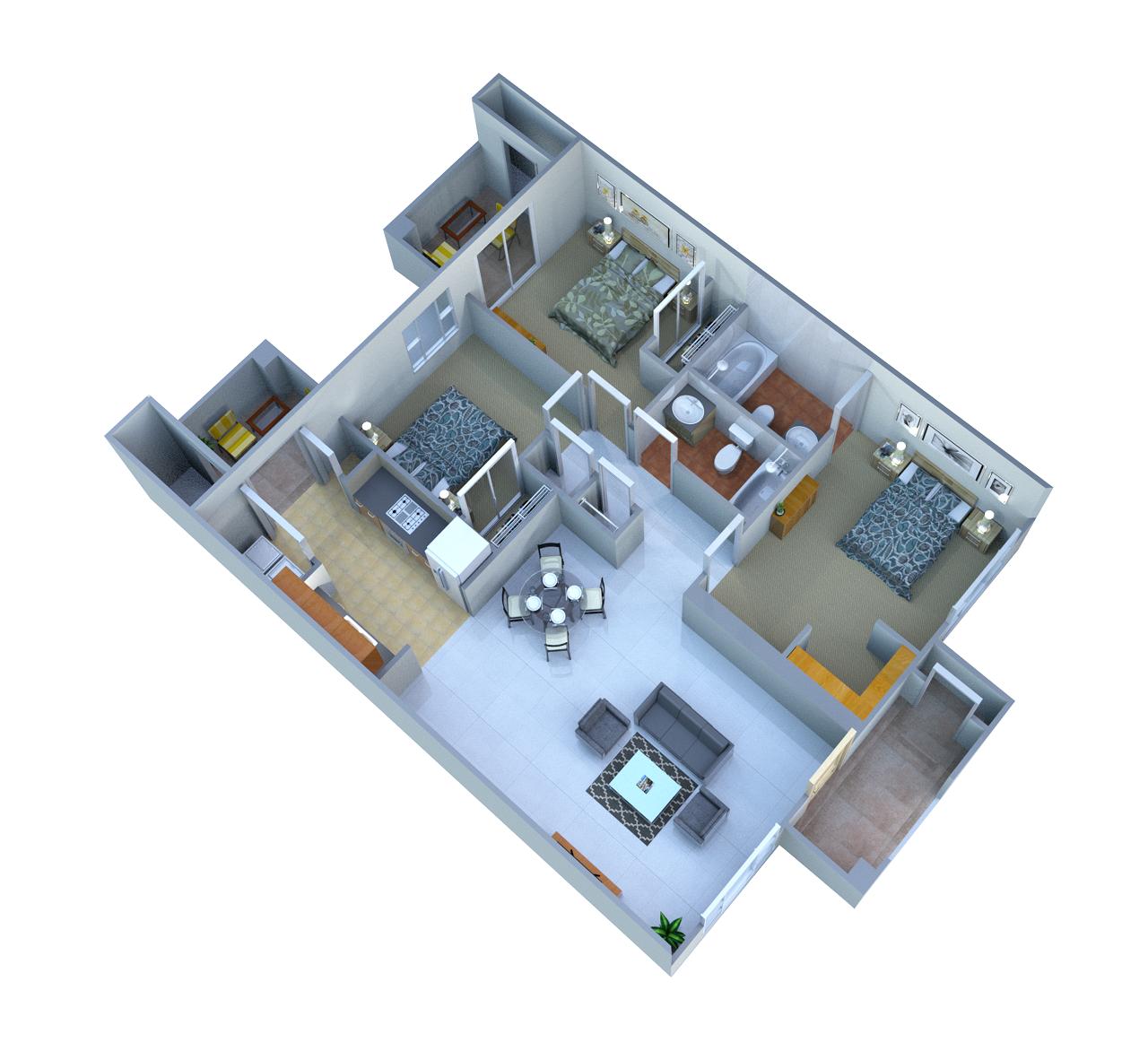 3 Bed 3 Bath Floor Plan 4