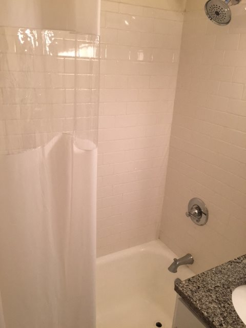 Shower Curtains In Bathroom at 14 West Elm Apartments, Chicago, Illinois