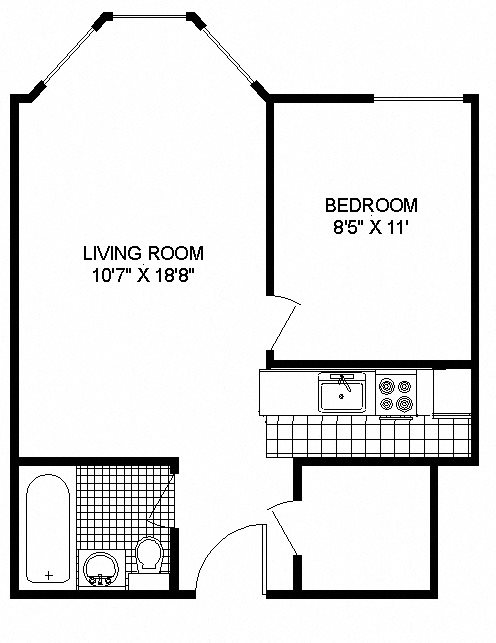 Floor Plan at 14 West Elm Apartments, Illinois