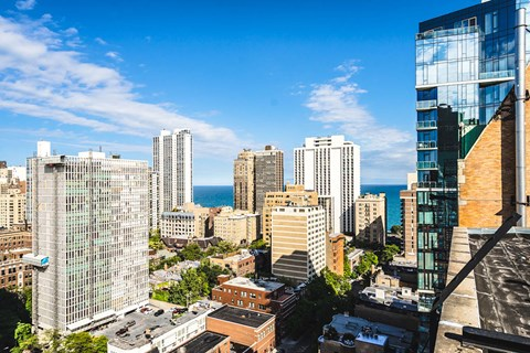 Rooftop View at 14 West Elm Apartments, Chicago,Illinois