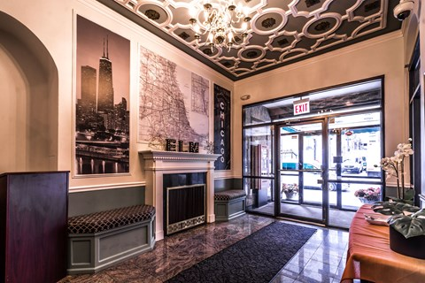 Lobby with Fireplace at 14 West Elm Apartments, Chicago, 60610`