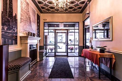 Atrium Style Lobby at 14 West Elm Apartments, Chicago, IL
