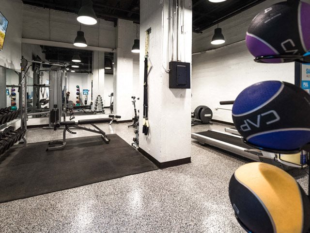 Fitness Center with Separate Spin Room at 14 West Elm Apartments, Chicago, Illinois