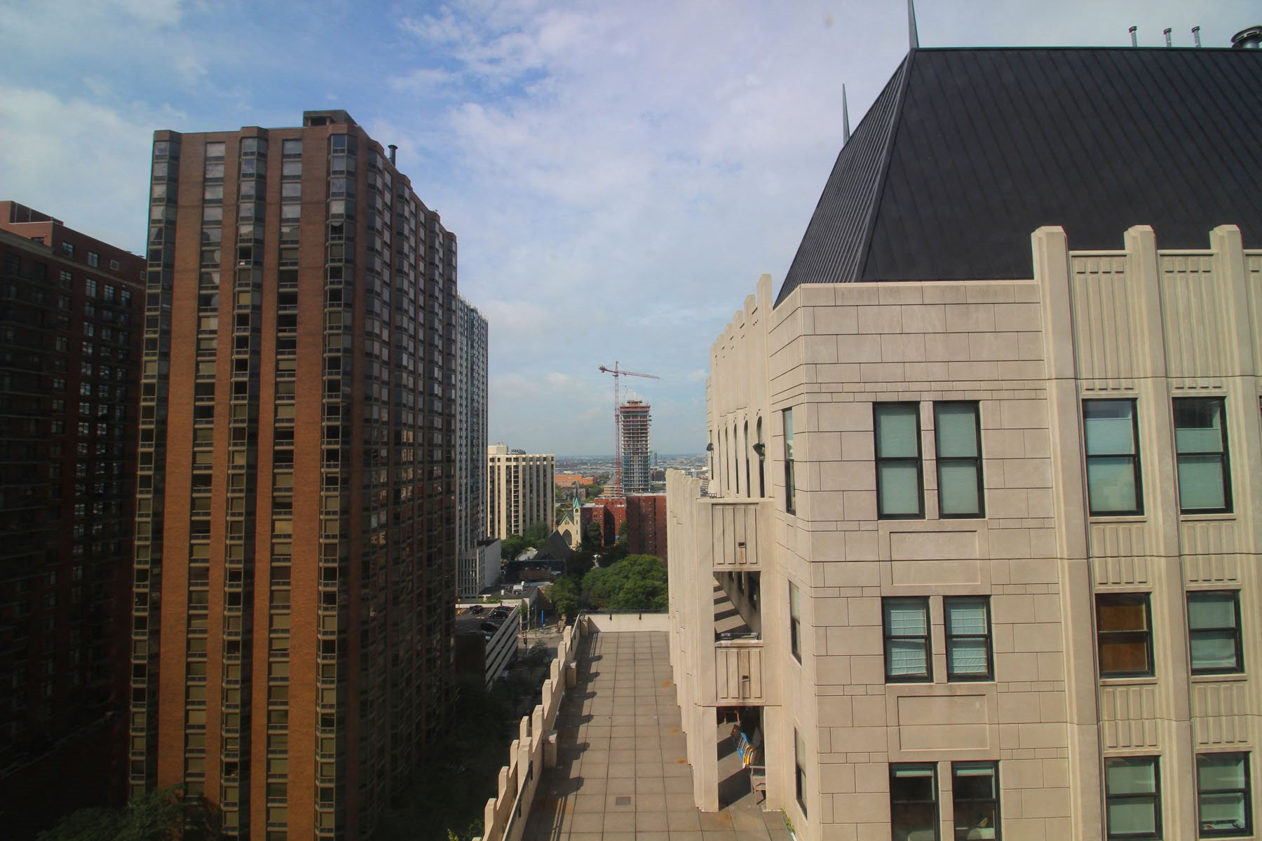 City View from Rooftop at 14 West Elm Apartments, Illinois