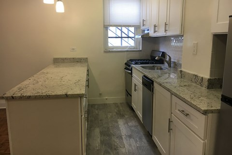 Kitchen with Upgraded Modern Lighting and Breakfast Bar at 14 West Elm Apartments, Illinois, 60610