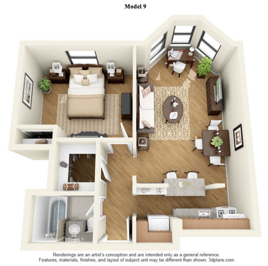 The Clark - 1 Bedroom Deluxe - Model 9 at 14 West Elm Apartments, Chicago,Illinois