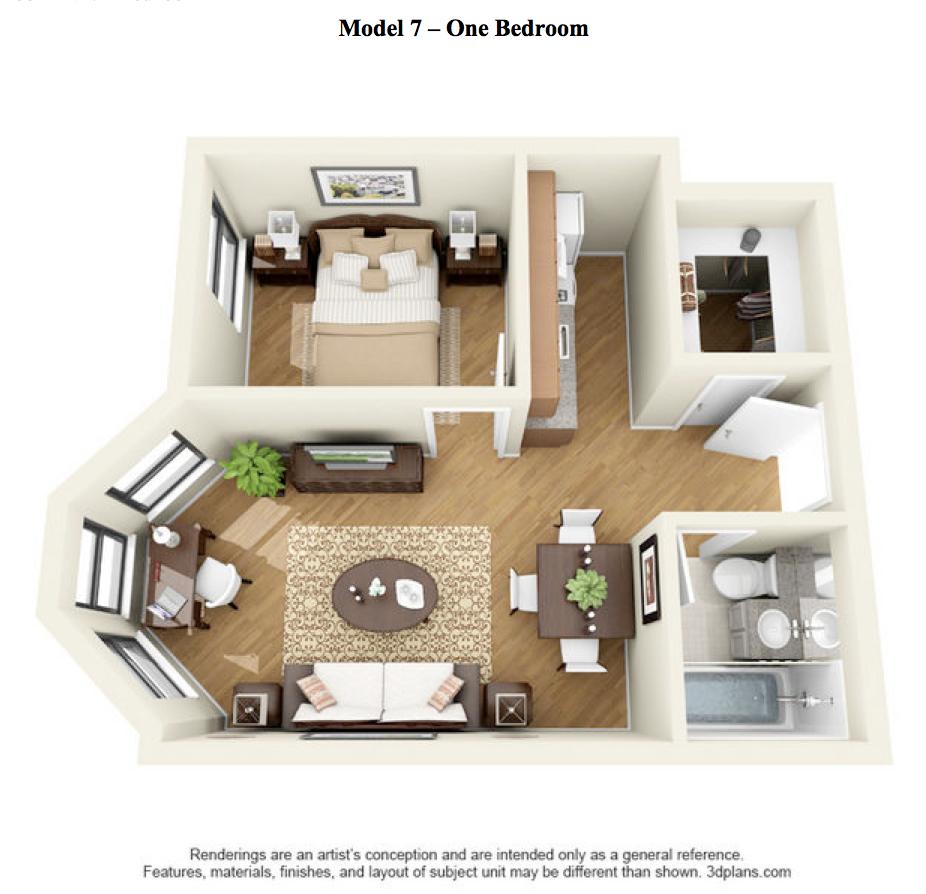 The LaSalle - 1 Bedroom - Model 7 at 14 West Elm Apartments, Chicago