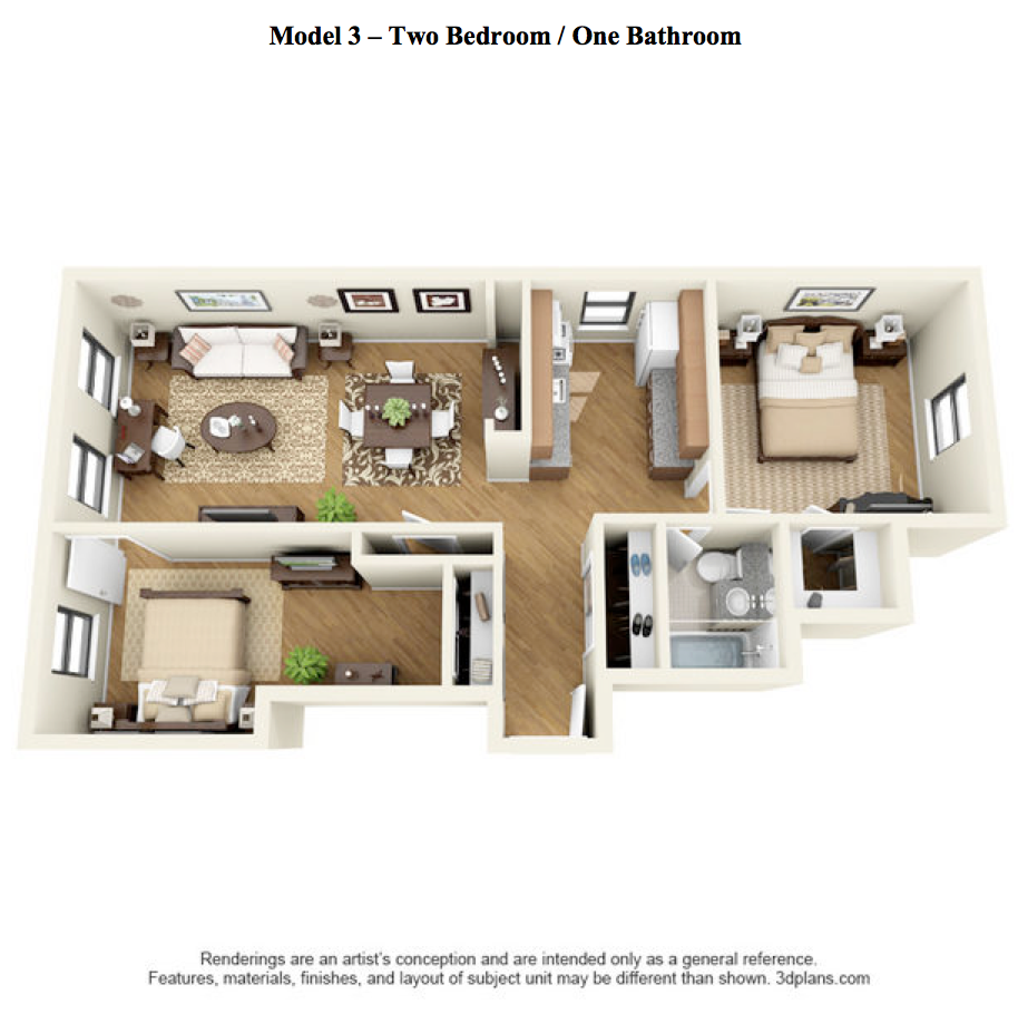 The Oak - 2 Bedroom, 1 Bath - Model 3 at 14 West Elm Apartments, Chicago, 60610