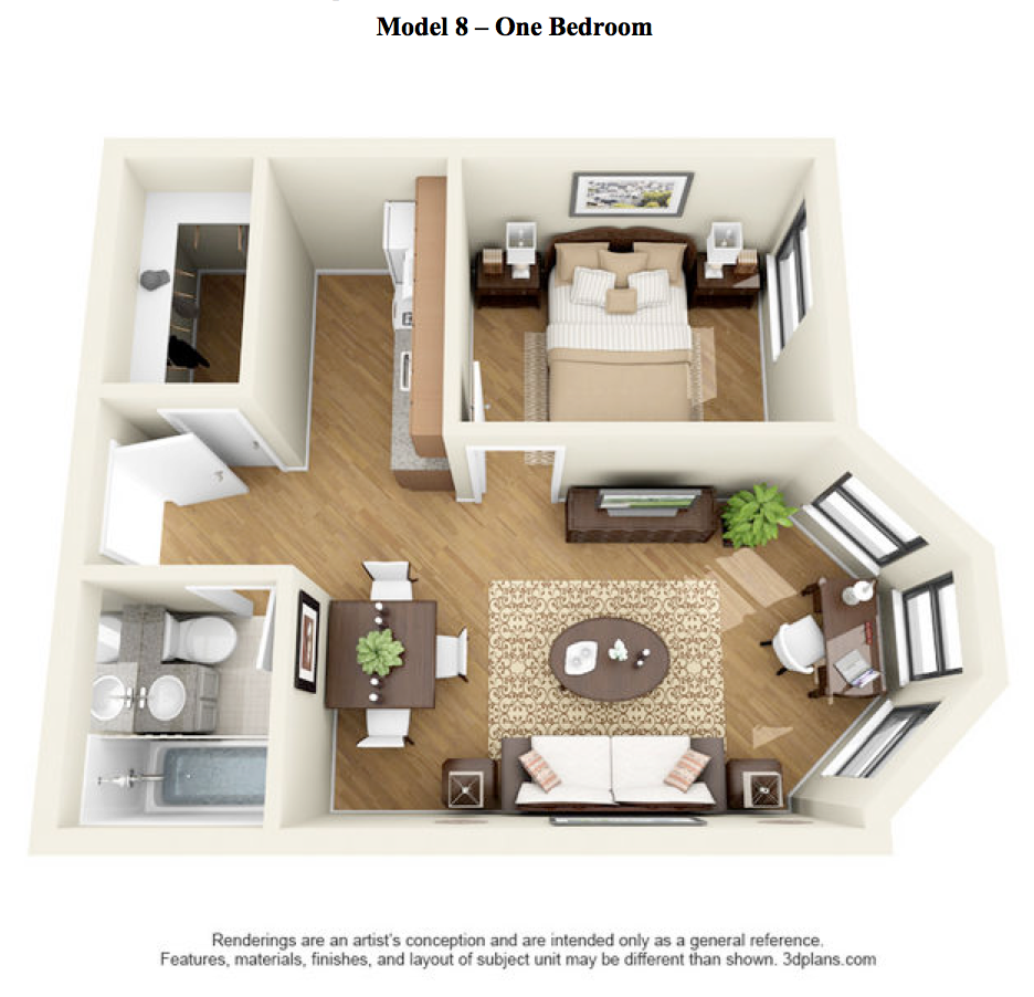 The State - 1 Bedroom - Model 8 at 14 West Elm Apartments, Illinois