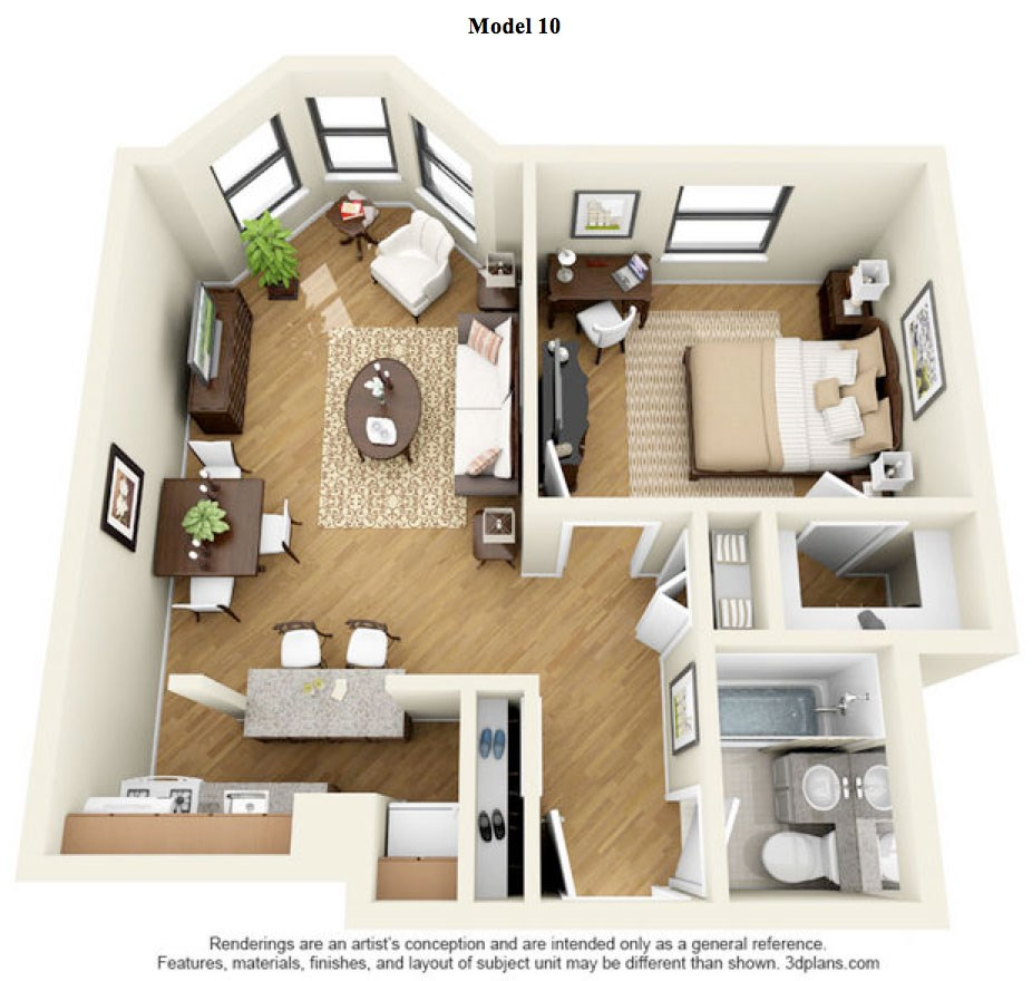 The Division  - 1 Bedroom Deluxe - Model 10 at 14 West Elm Apartments, Illinois