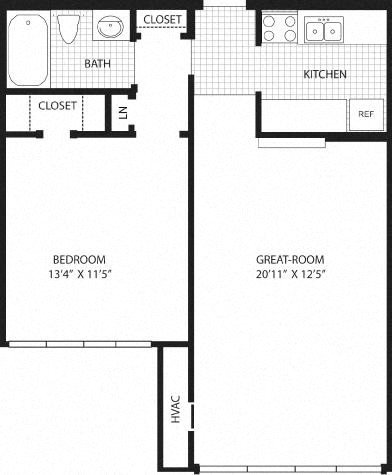 1 Bedroom (2nd/3rd Fl.) Floor Plan 2
