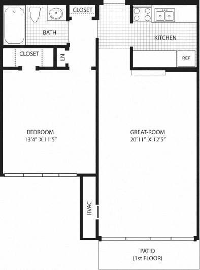 1 Bedroom with patio (1st Fl.) Floor Plan 1