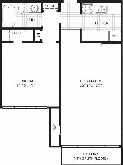 1 Bedroom with balcony (4th/5th Fl.) Floor Plan 3