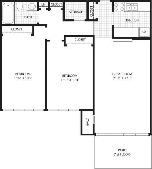 2 Bedroom with patio (1st Fl.) Floor Plan 5