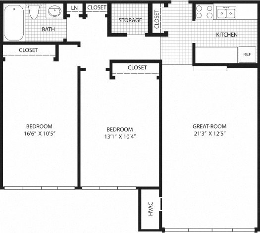2 Bedroom (2nd/3rd Fl.) Floor Plan 6