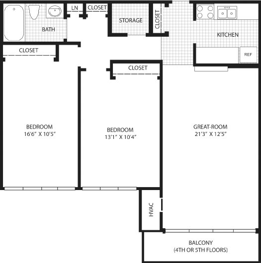 2 Bedroom with balcony (4th/5th Fl.) Floor Plan 7