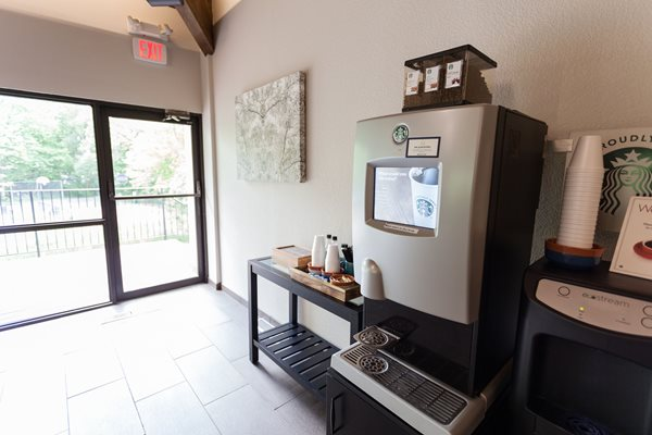coffee machine in clubhouse