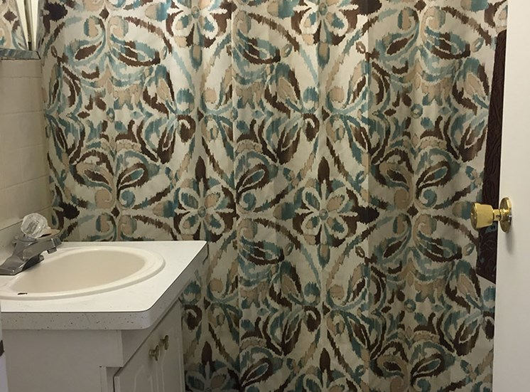 Beautiful Curtains in Bathroom at The Arbors Apartments, Illinois, 61103