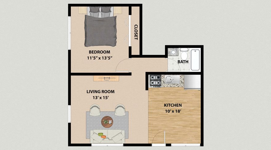 One Bedroom One Bathroom Floor Plan at the Arbors