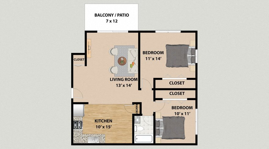Two Bedroom One Bathroom Floor Plan at the Arbors