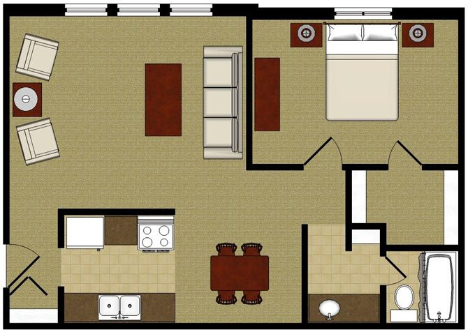The Willow 1 Bedroom 1 Bathroom Floor Plan at The Arbors Apartments, Illinois, 61103