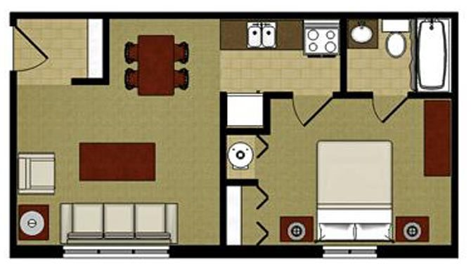 The Cypress 1 Bedroom 1 Bathroom Floor Plan at The Arbors Apartments, Rockford, IL, 61103