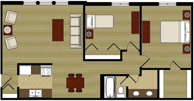 The Evergreen 2 Bedroom 1 Bathroom Floor Plan at The Arbors Apartments, Rockford, 61103